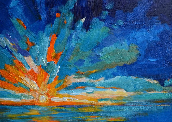 Landscape Greeting Card featuring the painting Orange Blue Sunset Landscape by Patricia Awapara