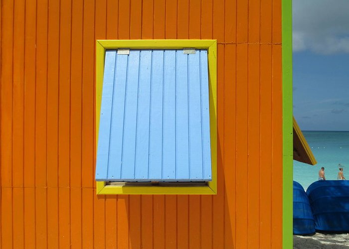 Caribbean Corner Greeting Card featuring the photograph Orange Cabin by Randall Weidner