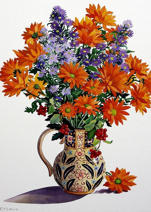 Flowers Greeting Card featuring the painting Orange Chrysanthemums by Christopher Ryland