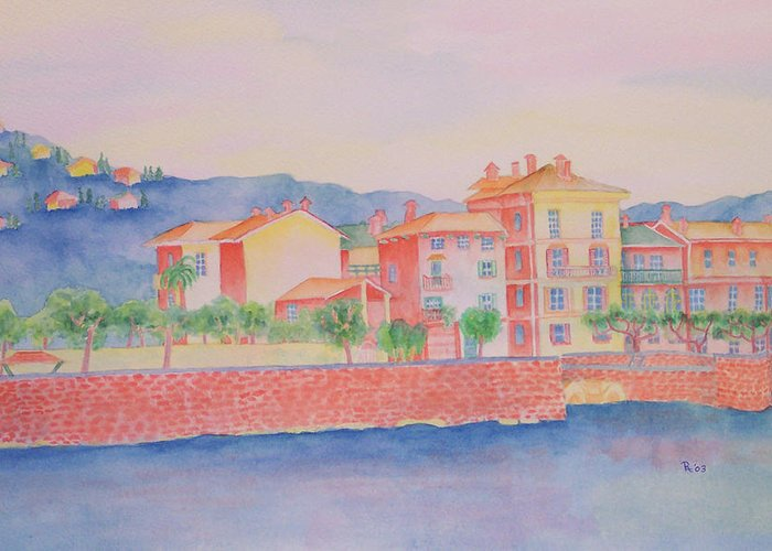 Italy Greeting Card featuring the painting Orange Fisherman's Island by Rhonda Leonard