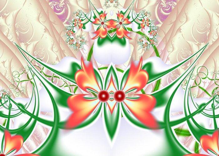 Fractal Greeting Card featuring the digital art Orange Flower by Igor Sinitsyn