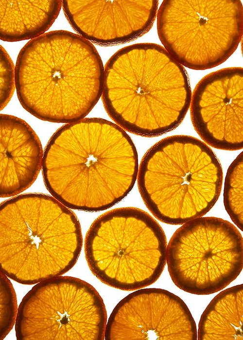 Background Greeting Card featuring the photograph Orange Fresh by Vitaliy Gladkiy