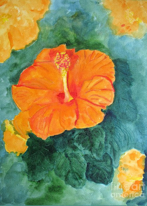 Hibiscus Greeting Card featuring the painting Orange Hibiscus by Sandy McIntire