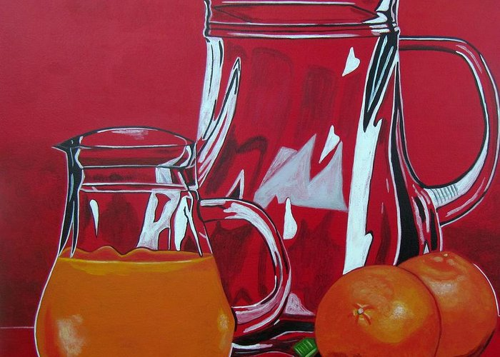 Food Greeting Card featuring the painting Orange Juggle by Sandra Marie Adams