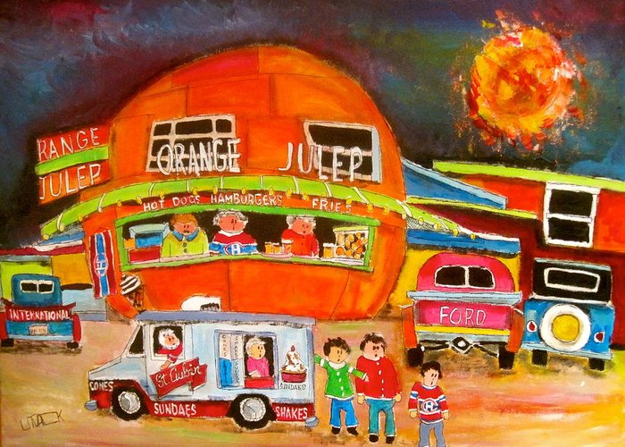 Orange Julep Greeting Card featuring the painting Orange Julep Competition by Michael Litvack