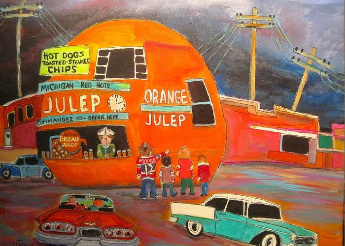 Gibeau Orange Julep. Decarie Blvd. Greeting Card featuring the painting Orange Julep Icon by Michael Litvack