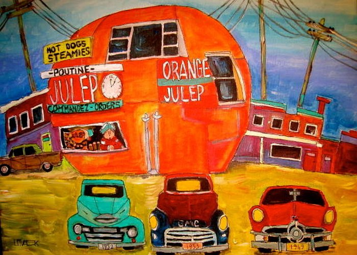 Orange Julep Greeting Card featuring the painting Orange Julep Truck Line-up Montreal Memories by Michael Litvack