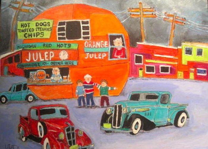 Orange Julep Greeting Card featuring the painting Orange Julep Trucks Montreal Memories by Michael Litvack