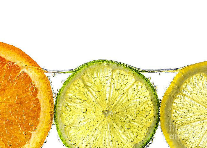 Orange Greeting Card featuring the photograph Orange Lemon And Lime Slices In Water by Elena Elisseeva