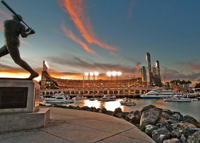 Att Park Greeting Card featuring the photograph Orange October 2012 Celebrates The San Francisco Giants by Jorge Guerzon