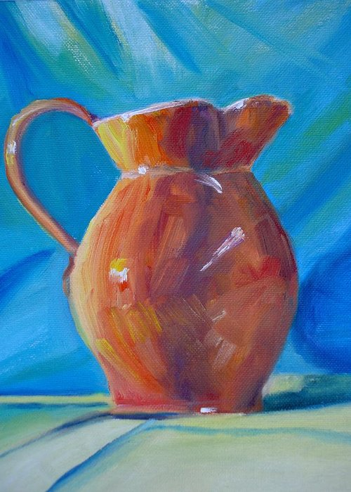 Pitcher Still Life Greeting Card featuring the painting Orange Pitcher Still Life by Donna Tuten