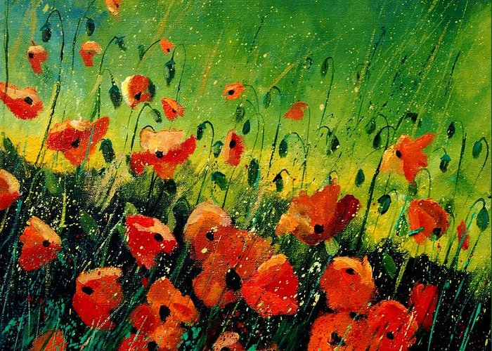 Poppies Greeting Card featuring the painting Orange Poppies by Pol Ledent