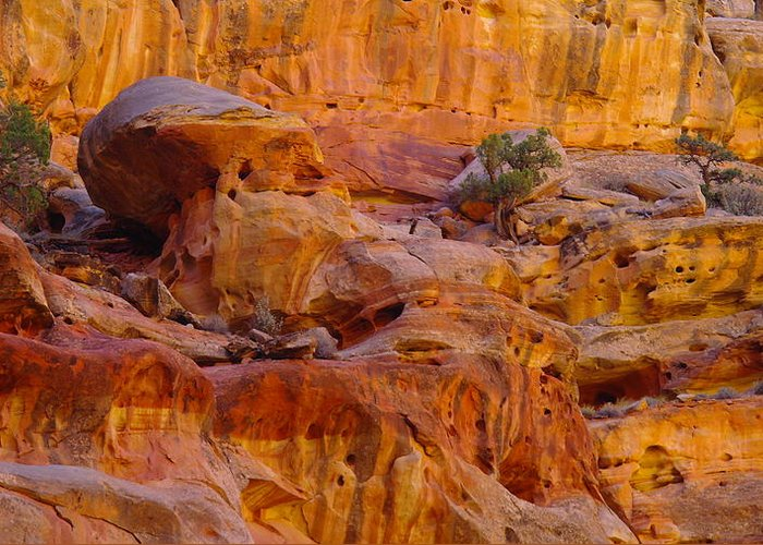 Southwestern Art. Southwestern Photography Greeting Card featuring the photograph Orange Rock Formation by Jeff Swan