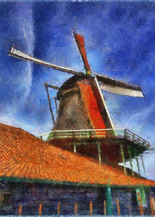 Zaanse Schans Molen Greeting Card featuring the digital art Orange Sails by Rick Lloyd