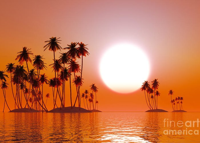 Islands Greeting Card featuring the photograph Orange Sunset by Aleksey Tugolukov