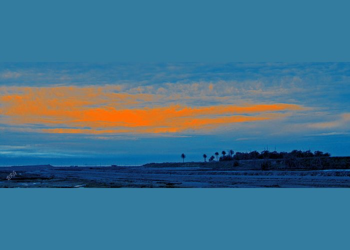 Navy Blue Greeting Card featuring the photograph Orange Sunset by Ben and Raisa Gertsberg