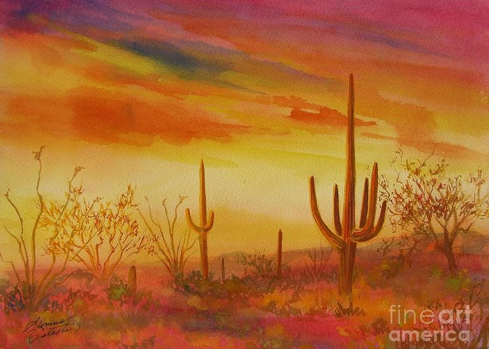 Desert Greeting Card featuring the painting Orange Sunset by Summer Celeste