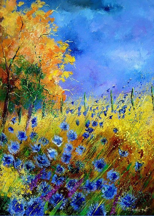 Poppies Greeting Card featuring the painting Orange Tree And Blue Cornflowers by Pol Ledent