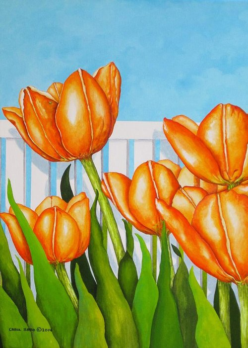 Tulips Greeting Card featuring the painting Orange Tulips In My Garden by Carol Sabo