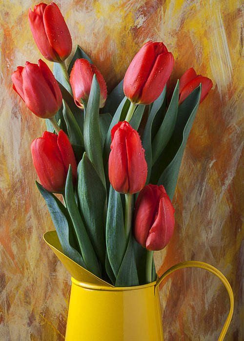 Orange Tulips Greeting Card featuring the photograph Orange Tulips In Yellow Pitcher by Garry Gay