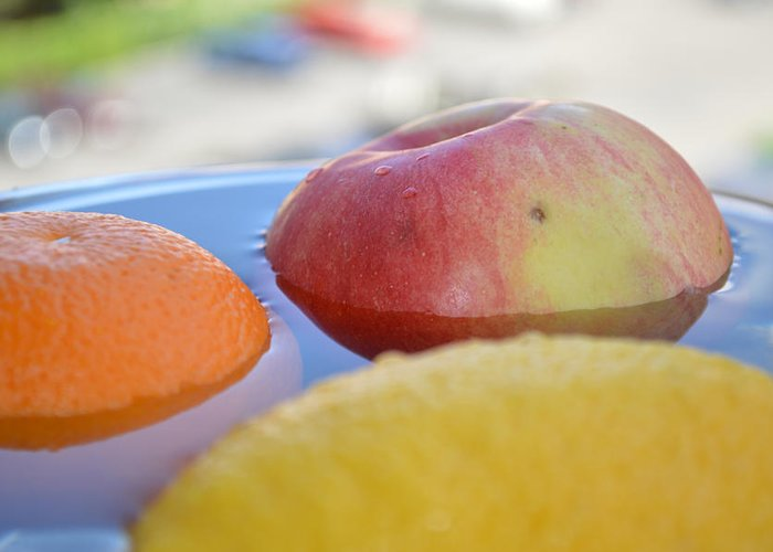Apple Greeting Card featuring the photograph Orange Yellow Red Green And Some Water by Adrian Bud