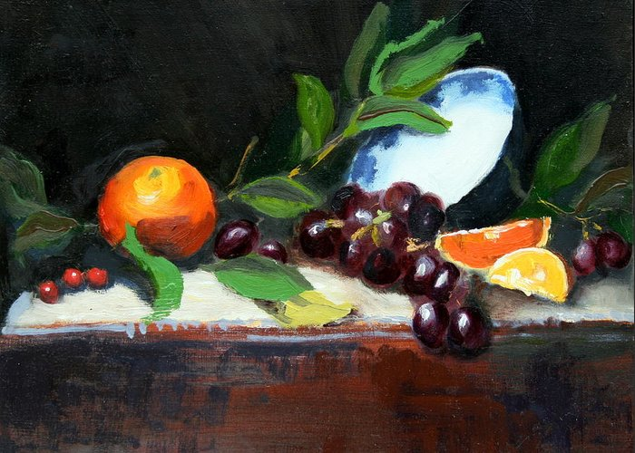 Orange Greeting Card featuring the painting Oranges And Grapes by Gaye White