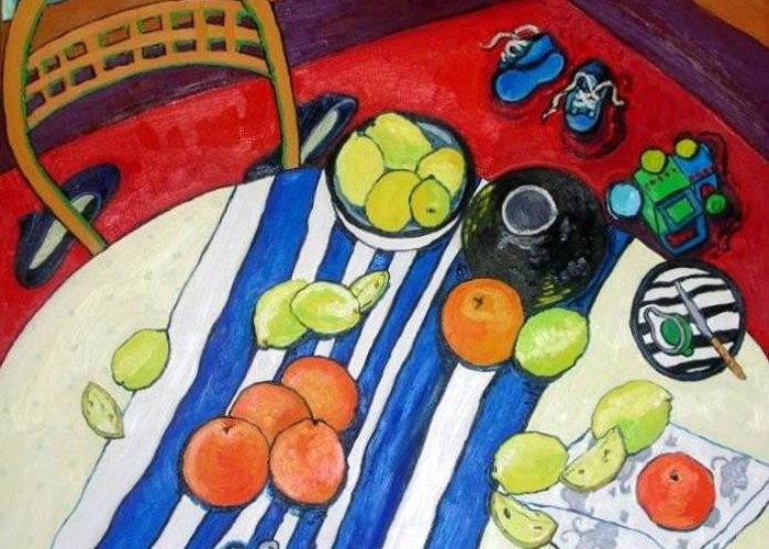 Still Life Greeting Card featuring the painting Oranges And Lemons by Tea Ercoles