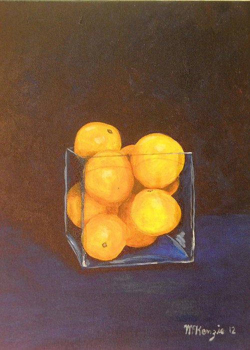 Still Life Greeting Card featuring the painting Oranges In A Square Vase by Robb McKenzie