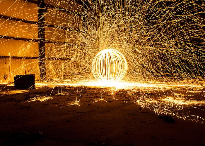 Steel Wool Photography Greeting Card featuring the photograph Orb Of Light by Noah Siano