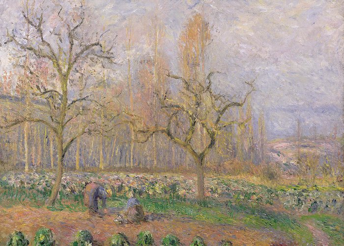Verger A Pontoise; Landscape; Tree; Gardening; Gardener; Daily Life Scene; Tree; Trees; Vegetable Garden; Ile-de-france; Impressionist Greeting Card featuring the painting Orchard At Pontoise by Camille Pissarro