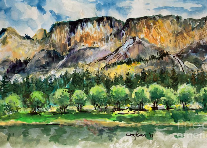 Anthony Coulson Greeting Card featuring the painting Orchard In The Valley by Anthony Coulson