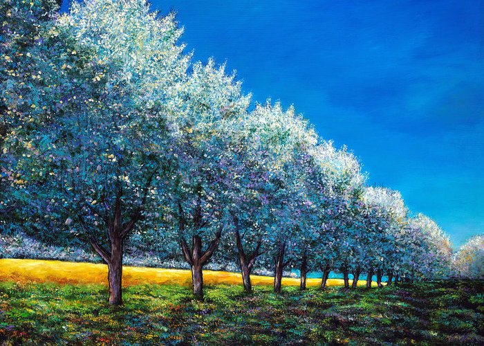 Cherry Orchard Greeting Card featuring the painting Orchard Row by Johnathan Harris
