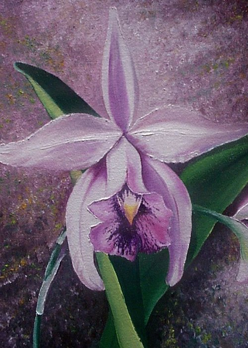 Orchid Purple Floral Botanical Greeting Card featuring the painting Orchid Lalia by Karin Dawn Kelshall- Best