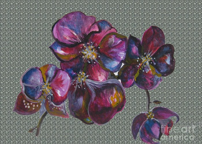 Watercolour Greeting Card featuring the drawing Orchids Grey Bubble by Karen Larter