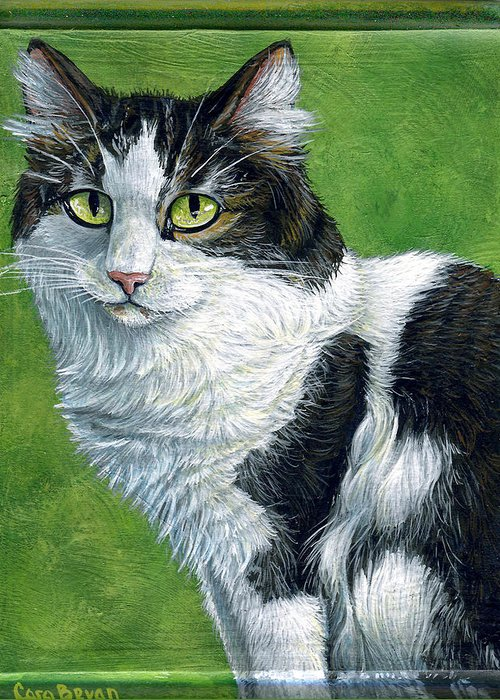 Oreo Greeting Card featuring the painting Oreo by Cara Bevan