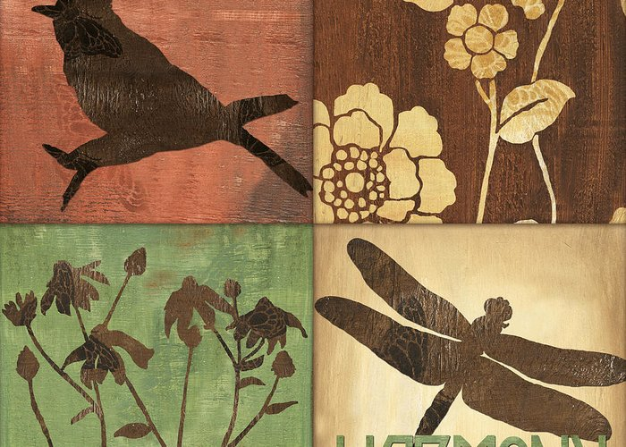 Dragonfly Greeting Card featuring the painting Organic Nature 2 by Debbie DeWitt