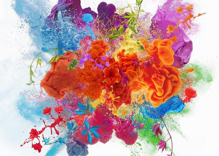 Material Greeting Card featuring the digital art Orgasm by Vizerskaya