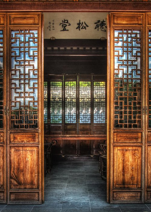 Doors Greeting Card featuring the photograph Orient - Door - The Temple Doors by Mike Savad