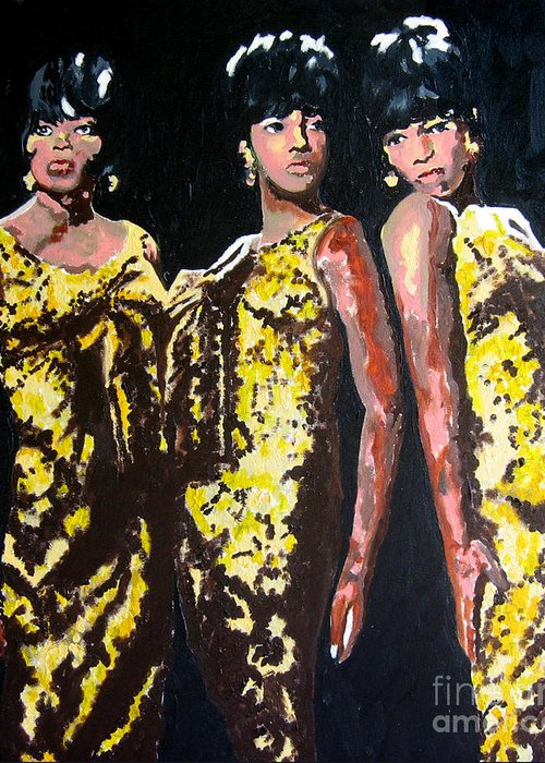 Diana Ross Greeting Card featuring the painting Original Divas The Supremes by Ronald Young