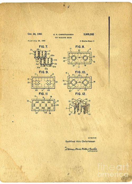 Lego Greeting Card featuring the digital art Original Patent For Lego Toy Building Brick by Edward Fielding