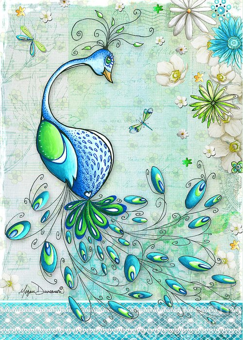 Peacock Greeting Card featuring the painting Original Peacock Painting Bird Art By Megan Duncanson by Megan Duncanson