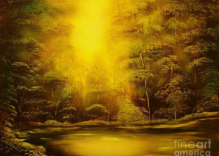 Landscape Greeting Card featuring the painting Green Forest Glow-original Sold- Buy Giclee Print Nr 35 Of Limited Edition Of 40 Prints by Eddie Michael Beck