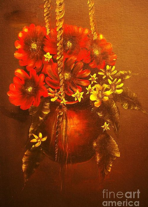 Flower Greeting Card featuring the painting Hanging Flower Pot-original Sold-buy Giclee Print Nr 24 Of Limited Edition Of 40 Prints  by Eddie Michael Beck