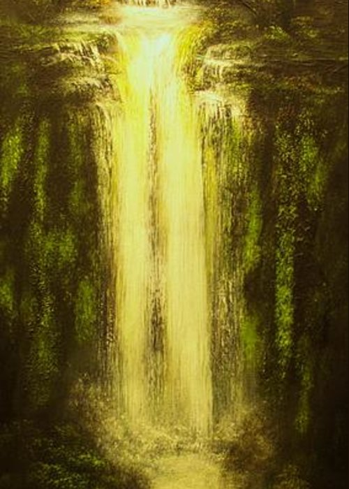 Waterfall Greeting Card featuring the painting High Falls-original Sold-buy Giclee Print Nr 37 Of Limited Edition Of 40 Prints  by Eddie Michael Beck