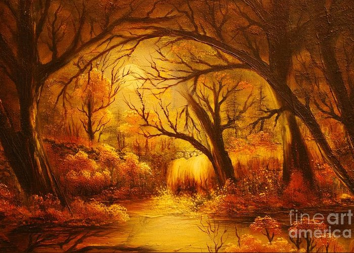 Landscape Greeting Card featuring the painting Hot Forest- Original Sold- Buy Giclee Print Nr 29 Of Limited Edition Of 40 Prints by Eddie Michael Beck