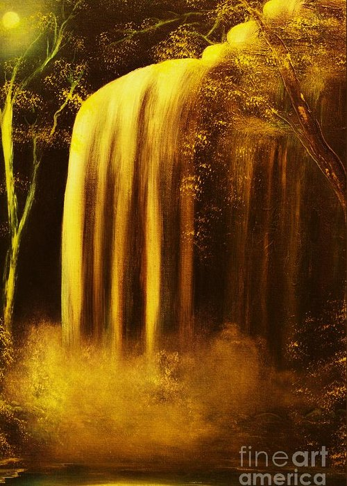 Waterfall Greeting Card featuring the painting Moon Shadow Waterfalls- Original Sold - Buy Giclee Print Nr 30 Of Limited Edition Of 40 Prints  by Eddie Michael Beck