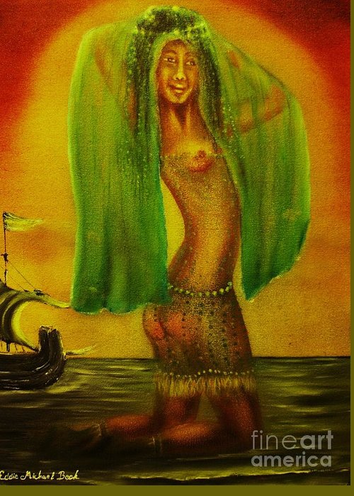 Landscape Greeting Card featuring the painting The Posing Dancer-original Sold- Buy Giclee Print Nr 28 Of Limited Edition Of 40 Prints by Eddie Michael Beck