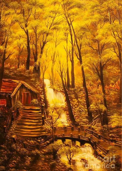 Tranquil Greeting Card featuring the painting Tranquil Cottage Stream- Original Sold -buy Giclee Print Nr 38 Of Limited Edition Of 40 Prints by Eddie Michael Beck