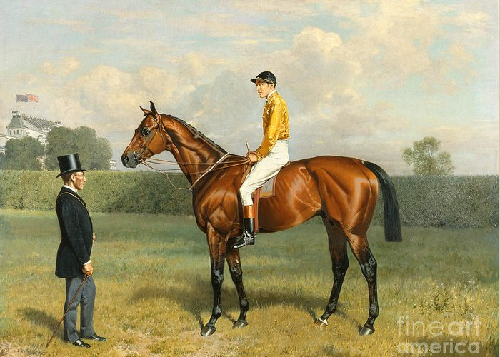 Racehorse Greeting Card featuring the painting Ormonde Winner Of The 1886 Derby by Emil Adam