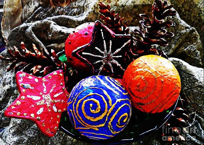 Christmas Greeting Card featuring the photograph Ornaments 7 by Sarah Loft